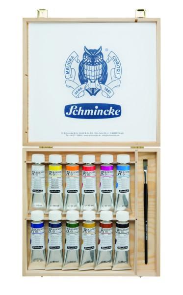 Schmincke Ölfarbe | Akademie Öl color | Holzkasten | 12 x 60 ml Tuben + 1 Pinsel