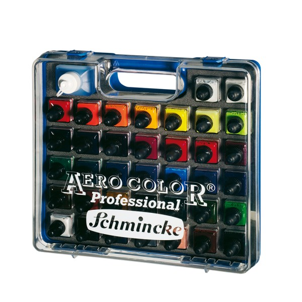 Schmincke Acrylfarbe   AERO COLOR Professional   Koffer   37 x 28 ml Flaschen + Aero CLEAN RAPID