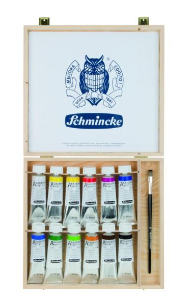 Schmincke Acrylfarbe | AKADEMIE Acryl color | Holzkasten | 12 x 60 ml Tuben + 1 Pinsel