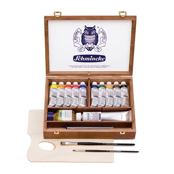 Schmincke Harz-Ölfarbe | MUSSINI | Holzkasten | 10 x 35 ml Tuben + Weiß (150 ml) + Zubehör