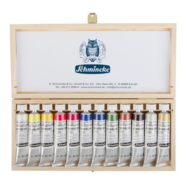 Schmincke Gouachefarbe | Calligraphy GOUACHE | Holzkasten | 12 x 20 ml Tuben