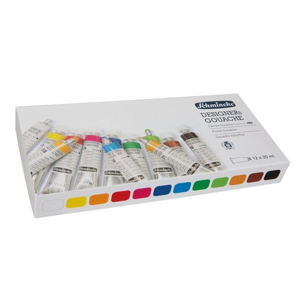 Schmincke Gouachefarbe | HKS Designers`Gouache | Kartonkasten| 12 x 20 ml Tuben