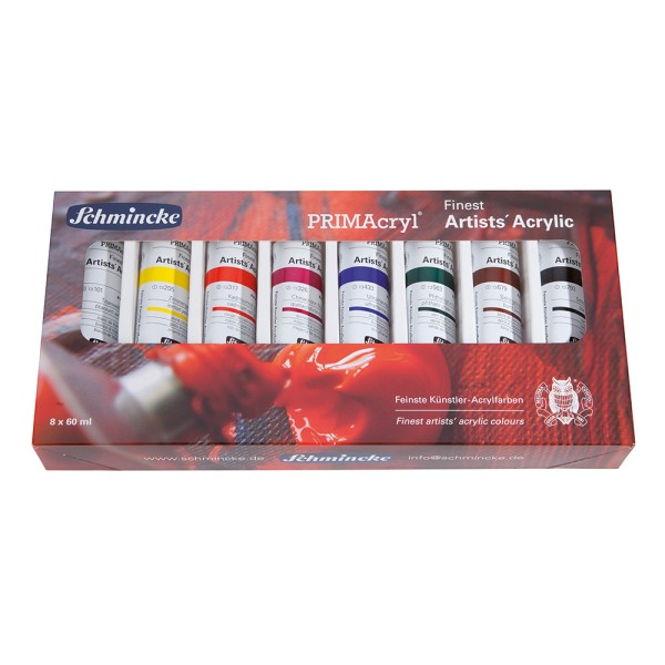 Schmincke Acrylfarbe | PRIMAcryl Artists`Acrylic | Kartonset | 8 x 60 ml Tuben
