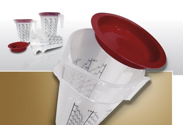 HSM | Mischbecher - Systeme | Kartonset | Modell Groß | 25 Einlagen+Außenbecher+Deckel